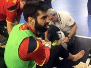 Rodrigo Corrales, tras caer lesionado por el panel publicitario.