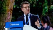 El presidente de la Xunta de Galicia, Alberto Núñez Feijóo, en la...