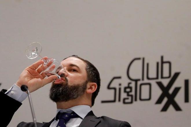 El presidente de Vox, Santiago Abascal, durante su participación el...