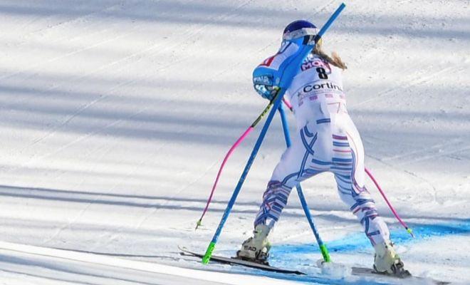 Vonn, el domingo, tras su salida en el gigante de Cortina d'Ampezzo.