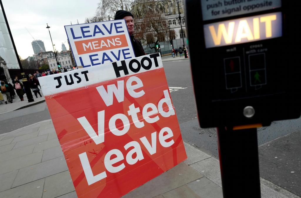 Un simpatizante del Brexit protesta frente al Parlamento de Westminster, ayer en Londres.