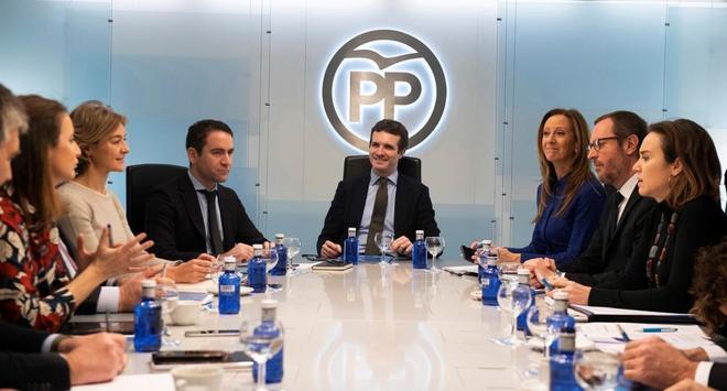 Pablo Casado, durante la reunión del Comité de Dirección del PP.