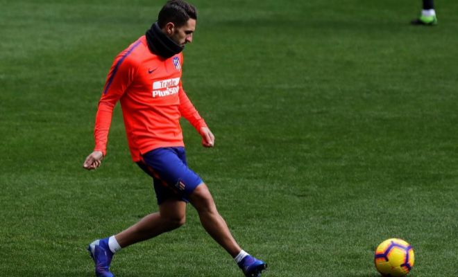 Koke, durante un entrenamiento reciente del Atlético en el Metropolitano.