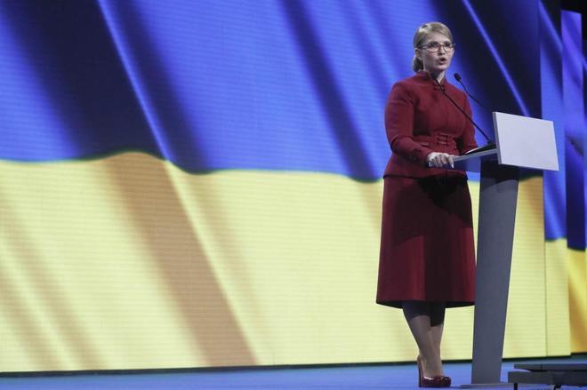 La ex primera ministra ucraniana, Yulia Tymoshenko, durante la presentación de su candidatura en Kiev.