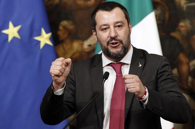 El viceprimer ministro italiano, Matteo Salvini, en una rueda de prensa en Roma, el pasado día 17.