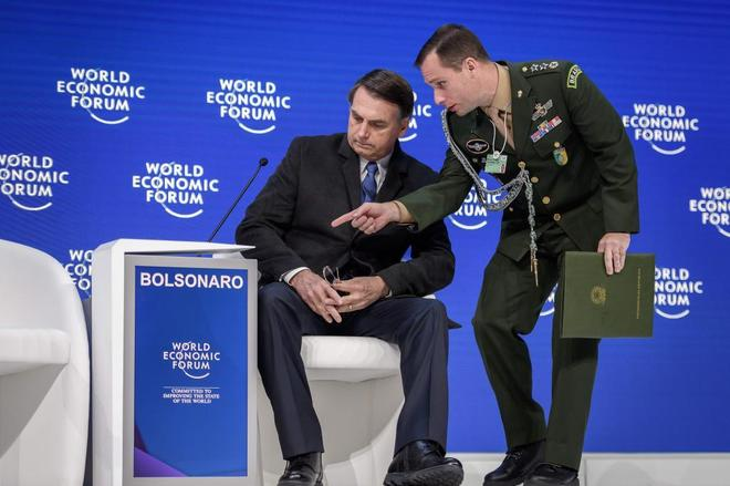 Jair Bolsonaro, poco antes de dar su discurso en el Foro Económico Mundial de Davos.