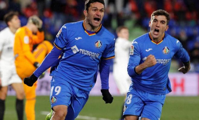 Jorge Molina celebra el gol al Valencia  en la ida de cuartos de final de la Copa del Rey.