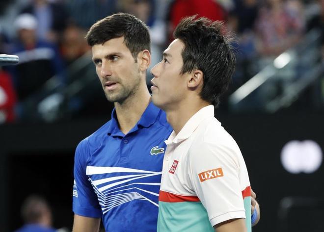 Djokovic y Nishikori, al final del partido.