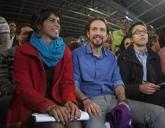 Teresa Rodríguez, Pablo Iglesias e Íñigo Errejón en un mitin de...