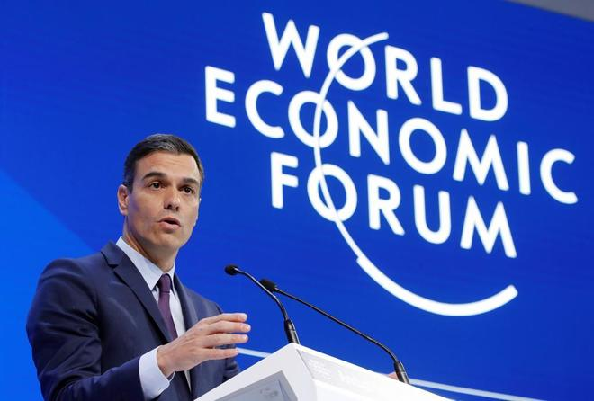 El presidente del Gobierno, Pedro Sánchez, en su intervención en el Foro de Davos