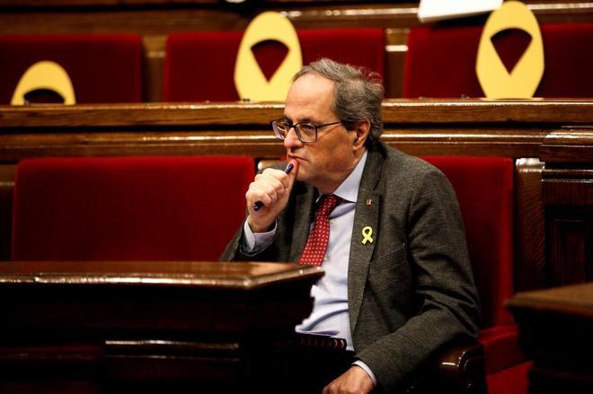 El president de la Generalitat, Quim Torra, durante el Pleno del...