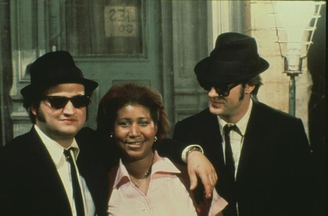 John Belushi, Dan Aykroyd and Aretha Franklin en 'The Blues Brothers',...