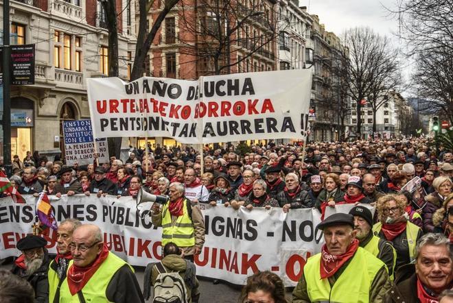 Manifestación celebrada la pasada semana en Bilbao para exigir una pensión mínima de 1.080 euros.