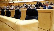 Bancada vacía del Gobierno en la sesión de esta tarde del Senado