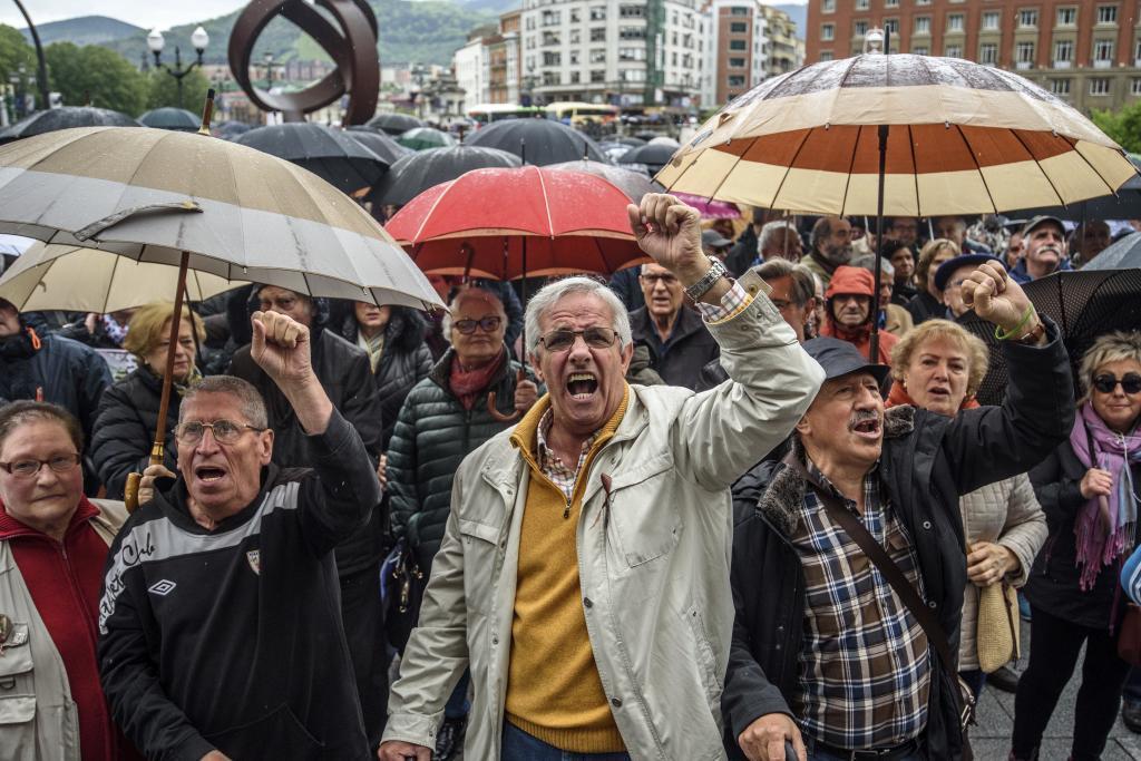 Una movilización de pensionistas en Bilbao.