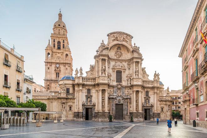 La plaza del Cardenal Belluga, en pleno centro de la ciudad de Murcia.