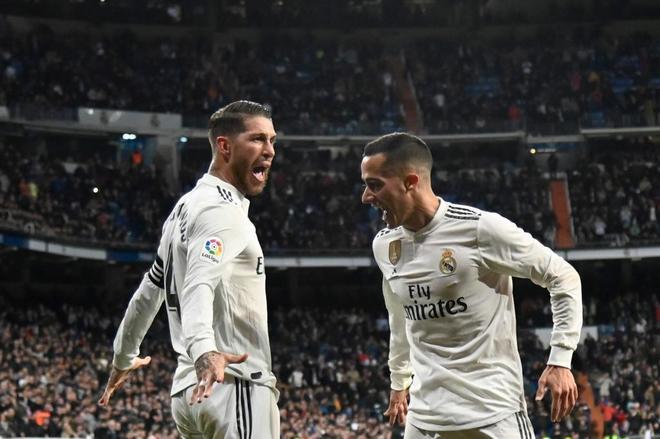 Sergio Ramos y Lucas Vazquez celebran uno de los goles contra el Girona.