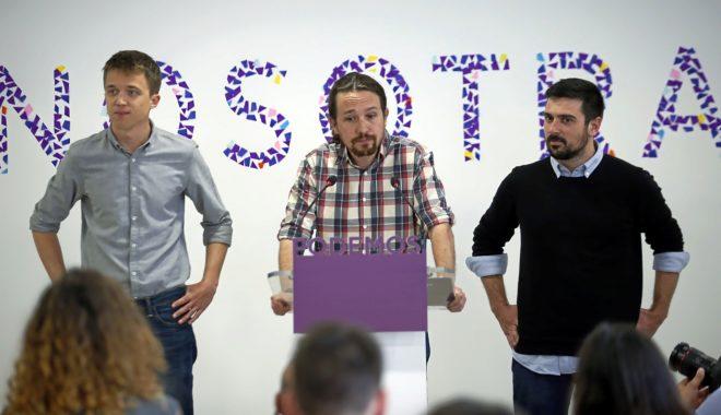Los líderes de Podemos, Íñigo Errejón, Pablo Iglesias y Ramón Espinar, en abril de 2018