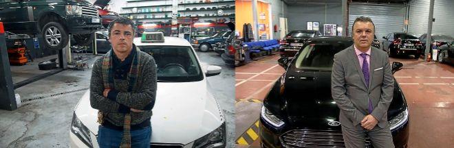Juan Carlos y Raúl Requejo. El primero le compró la licencia de taxi a su padre. El otro tiene cinco licencias de VTC.