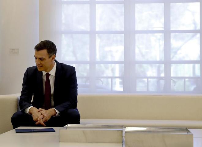 El presidente del Gobierno, Pedro Sanchez, tras una reunion en La Moncloa días atrás.
