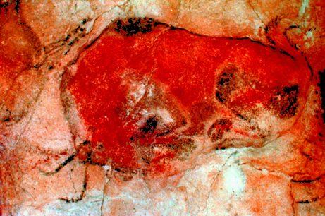 El dibujo de un bisonte en las cuevas de Altamira.