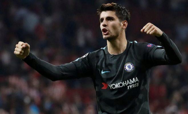 Morata festeja el gol del triunfo del Chelsea en el Metropolitano en septiembre de 2017.