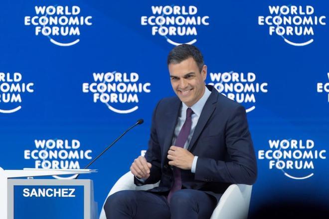 El presidente Pedro Sánchez, durante una sesión plenaria celebrada en Davos (Suiza)el pasado miércoles.