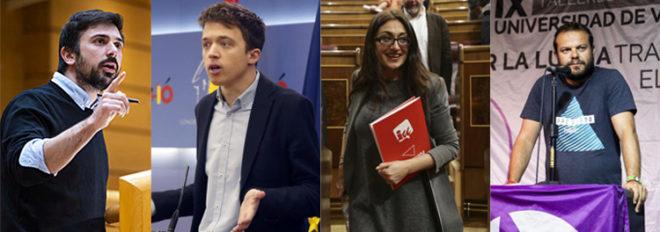 R. Espinar (ex de Podemos),  Í. Errejón (Más Madrid), S. Sánchez (IU) y R. Camargo (Anticapitalistas)
