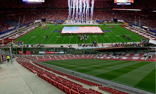 El Hard Rock Stadium de Miami y el estadio de Montilivi.