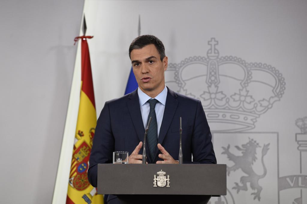 El presidente del Gobierno, Pedro Sánchez, en su comparecencia sobre...