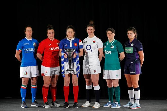 Las capitanas de las seis selecciones, el pasado miércoles, en Londres.
