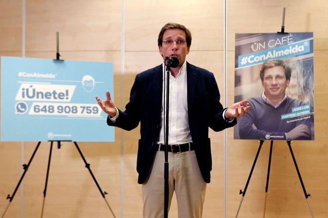 El candidato del PP, José Luis Martínez-Almeida, en la presentación de su 'programa abierto'.