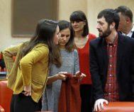 Irene Montero dialogo con los diputados de Podemos en el Congreso de los Diputados