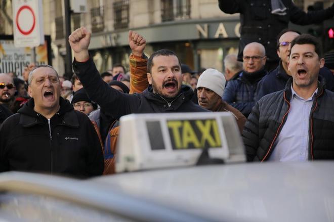 Taxistas durante las protestas en Madrid.