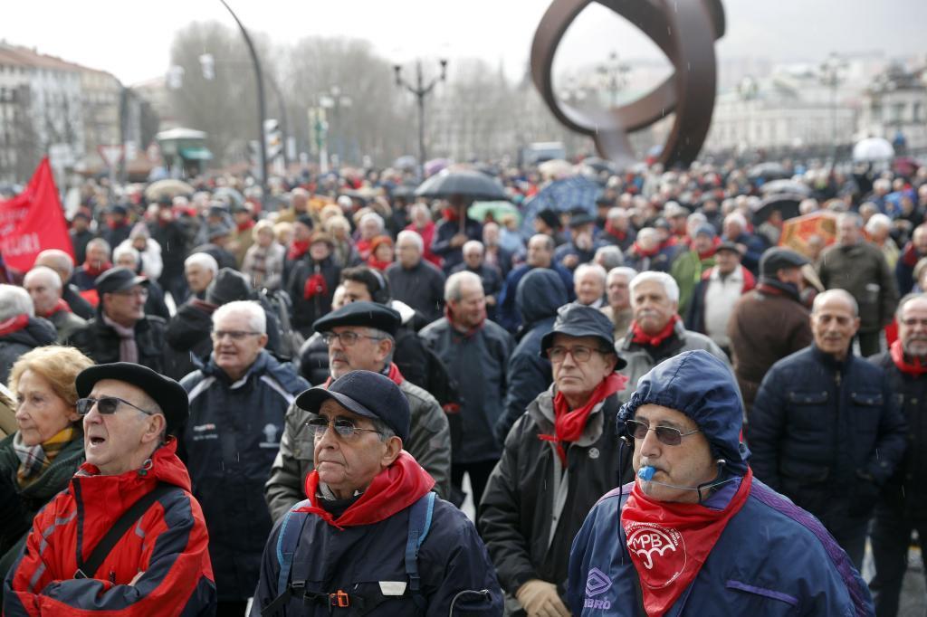 Concentración de los pensionistas de Bilbao del pasado lunes.