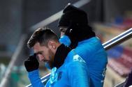 Leo Messi y Luis Suárez, durante su último entrenamiento antes del duelo frente al Sevilla.