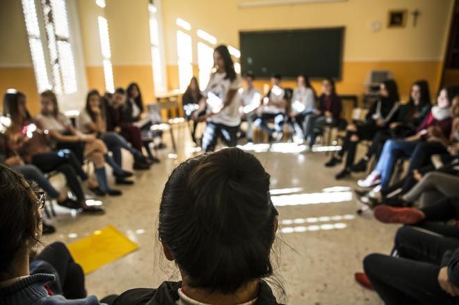 Alumnos de un colegio de Madrid durante unas jornadas sobre discriminación y violencia de género.