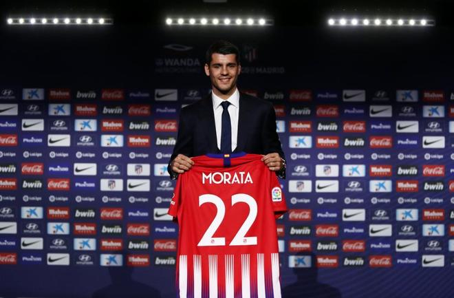 Morata, durante su presentación con el Atlético de Madrid.