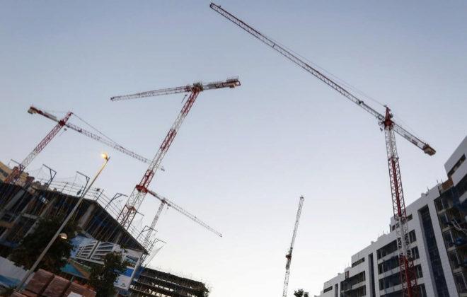 Construcción de una urbanización de viviendas en Madrid.