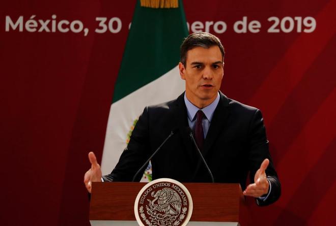 Pedro Sánchez, el miércoles, durante una comparecencia ante la prensa en la capital mexicana.
