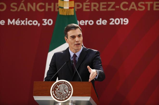 El presidente del Gobierno, Pedro Sánchez, en su visita oficial a México.