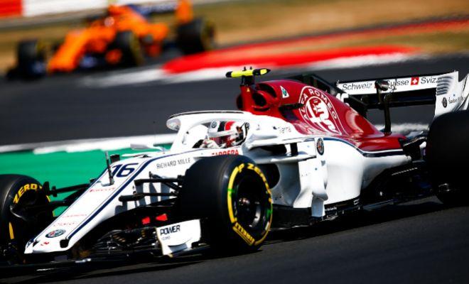 Charles Leclerc, al volante del Sauber, durante el pasado GP de Gran Bretaña.