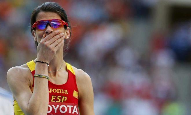 Beitia, durante la final de salto de altura del Mundial de Rusia 2013.