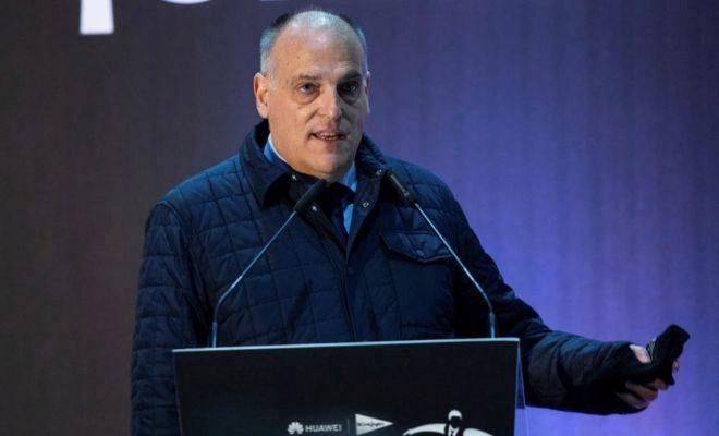 Javier Tebas, durante el acto de despedida de Javier Fernández, el lunes en Madrid.