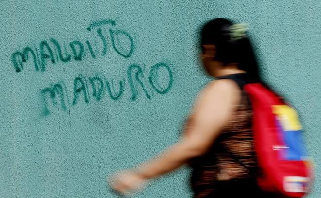 Grafiti en contra de Nicolás Maduro, en una calle de Caracas (Venezuela).