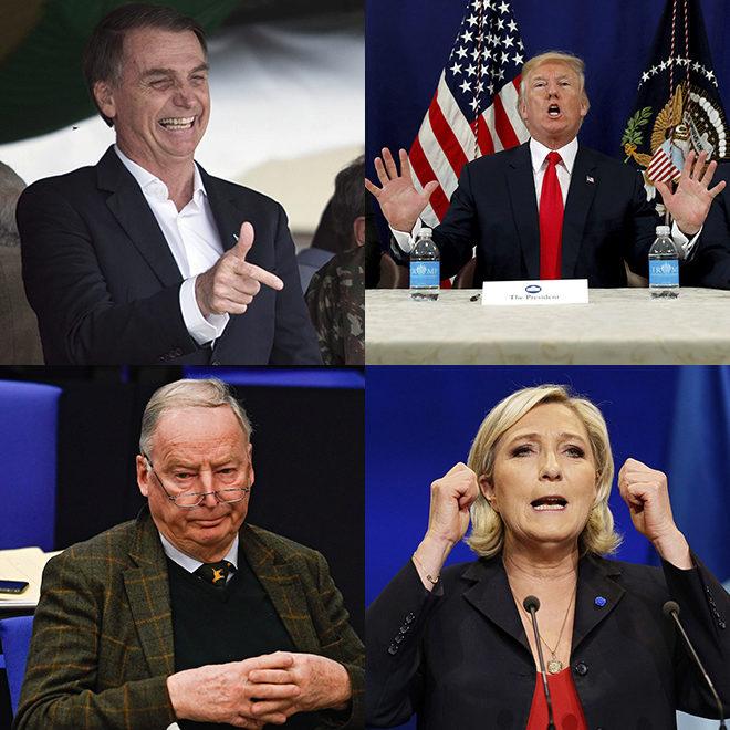 Bolsonaro (Brasil), Trump (EEUU), Gauland (Alemania) y Le Pen (Francia).