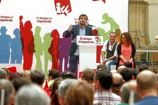 Sanguino con Alberto Garzón en un mitin de Esquerra Unida en 2015.