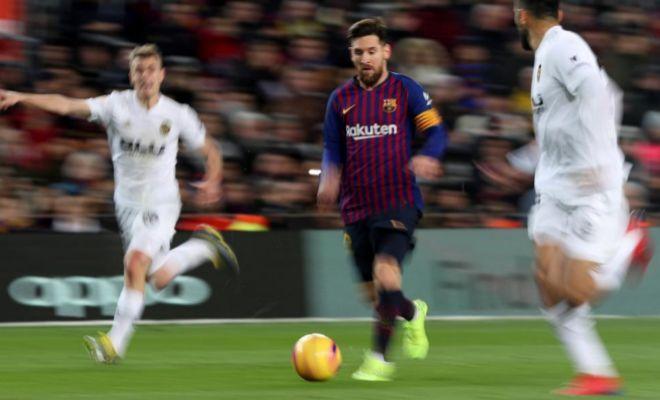 Messi, durante el partido contra el Valencia.