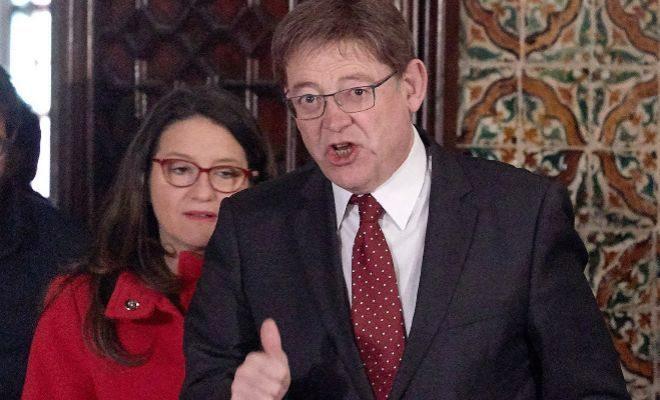 Ximo Puig y Mónica Oltra durante la rueda de prensa posterios al Seminari.