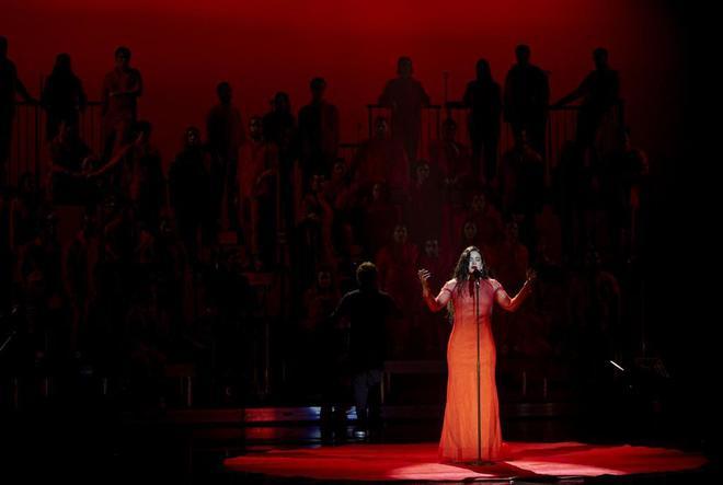La cantante Rosalía, durante su actuación.